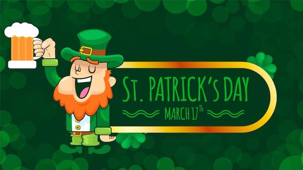 Smile Leprechaun On St. Patrick Day Background Premium Wektorów