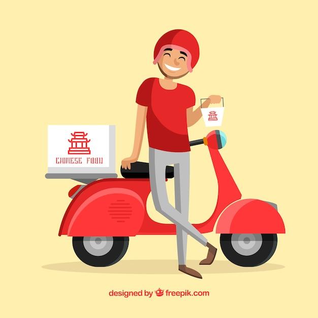 Smiley Deliveryman Z Chińskimi Potrawami Premium Wektorów