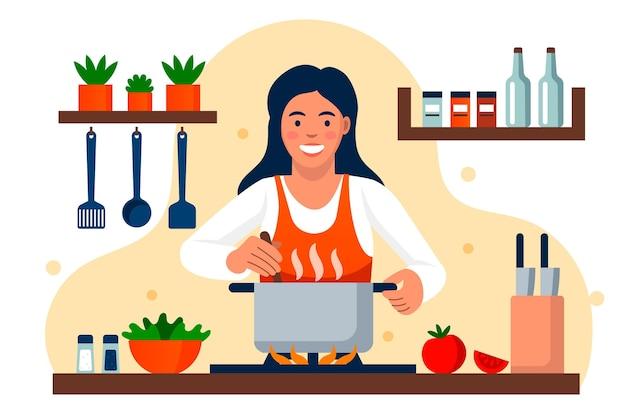 Smiley Kobieta Gotowania W Kuchni Premium Wektorów