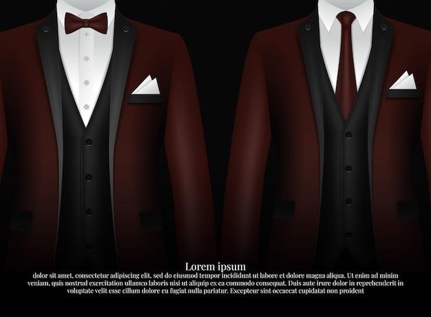 Smoking i łuk. stylowy garnitur. Premium Wektorów