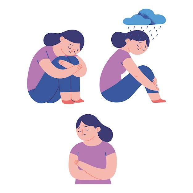 Smutne Kobiety Ilustracja Koncepcja Premium Wektorów