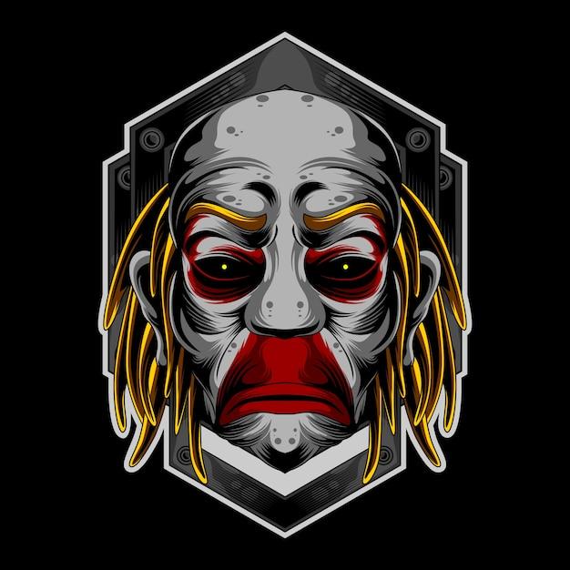 Smutne logo klauna Premium Wektorów