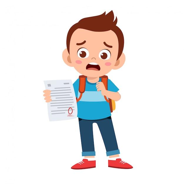 Smutny Chłopiec Ma Złą Ocenę Z Egzaminu Premium Wektorów