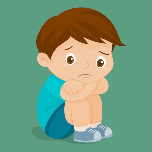 Smutny chłopiec płacze Premium Wektorów