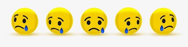 Smutny Emotikon Ze łzą Lub Płaczem Premium Wektorów