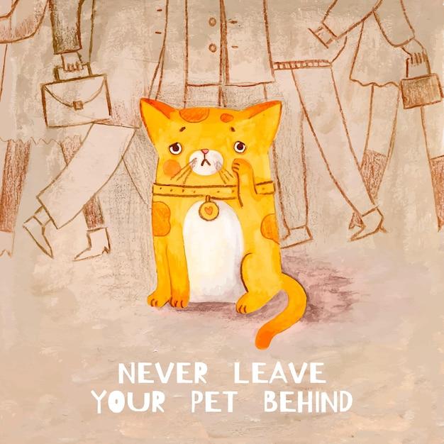 Smutny Kot Zostaje Darmowych Wektorów