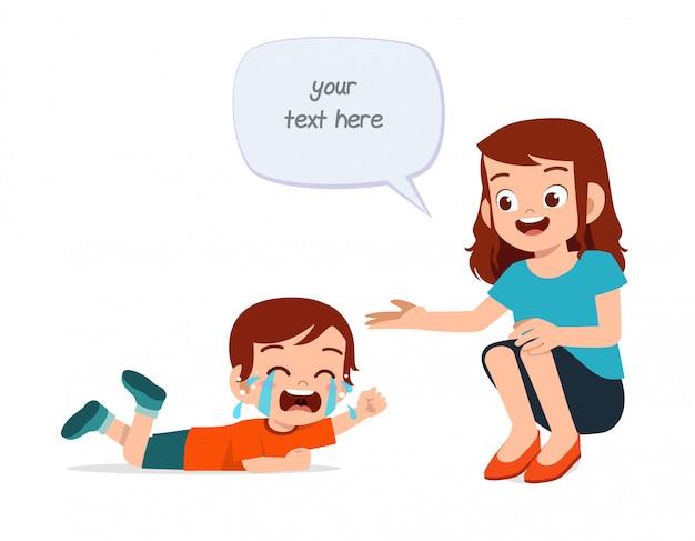 Smutny Płacz Małego Chłopca Z Mamą Premium Wektorów