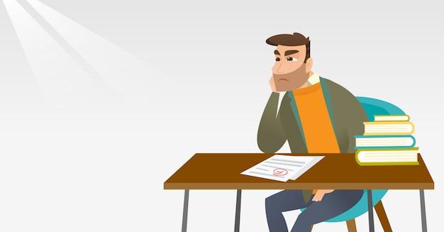 Smutny Uczeń Patrzeje Próbnego Papier Z Złą Oceną. Premium Wektorów