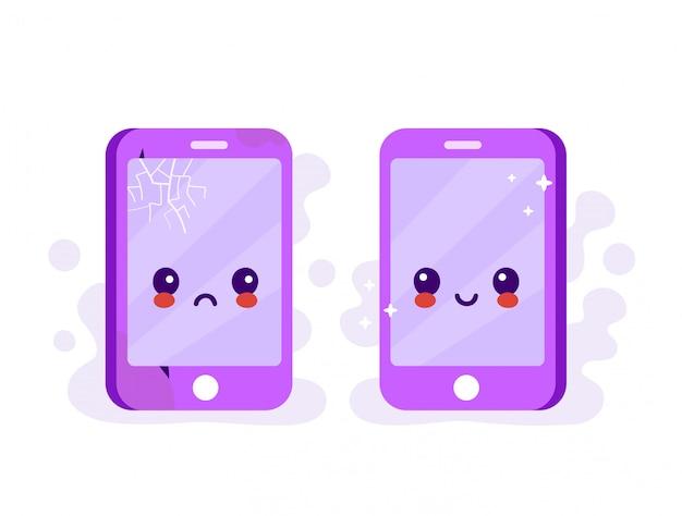 Smutny Zepsuty Telefon Z Pęknięciami I Zadrapaniami Oraz Nowy Szczęśliwy Nowy Telefon Premium Wektorów