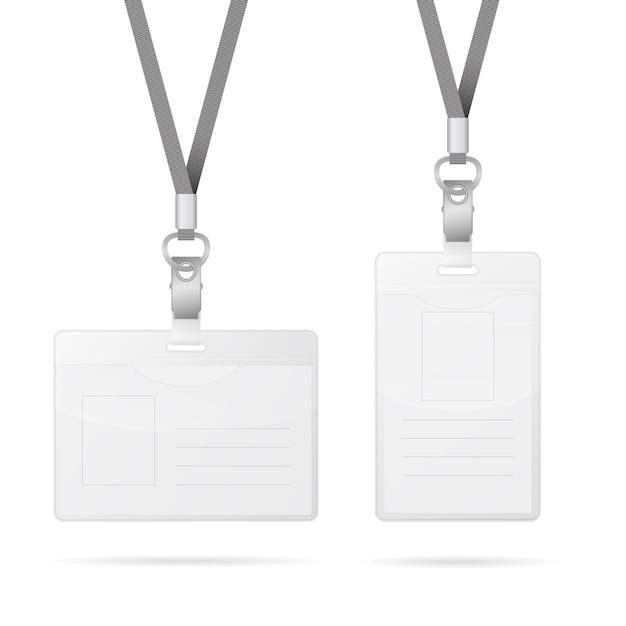 Smycz Z Przezroczystym Pustym Pionowym I Poziomym Znacznikiem Posiadacza Karty Identyfikacyjnej Na Białym Tle Premium Wektorów