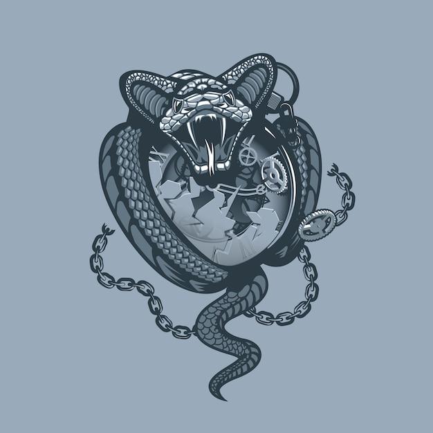 Snake Owinął I Roztrzaskał Zegarek I łańcuch. Premium Wektorów