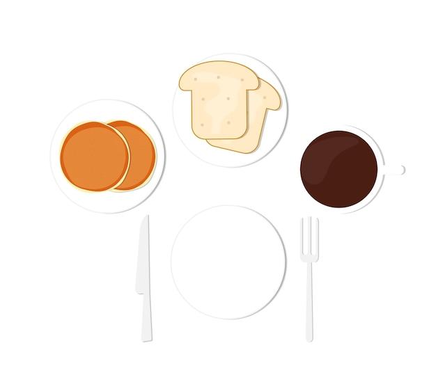 Śniadanie Nalewa Kawę I Chleb Premium Wektorów