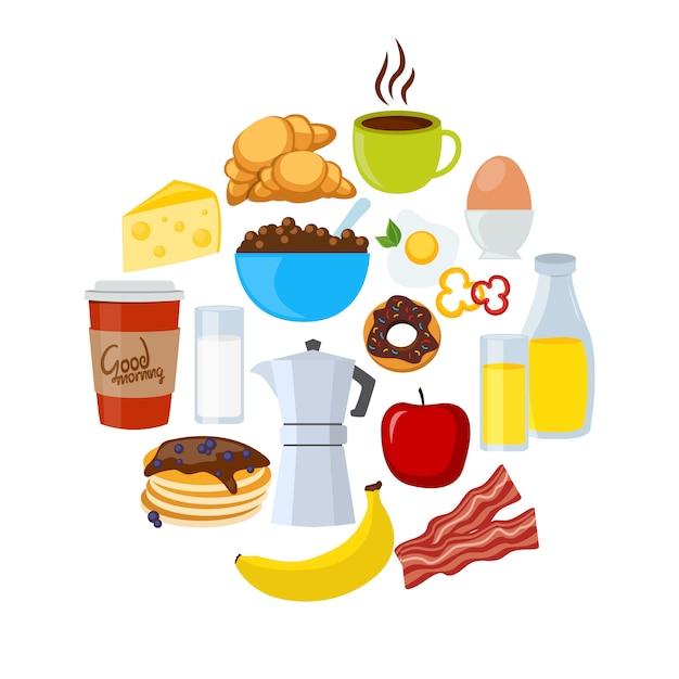 Śniadanie Płaski Zestaw Ikon Darmowych Wektorów