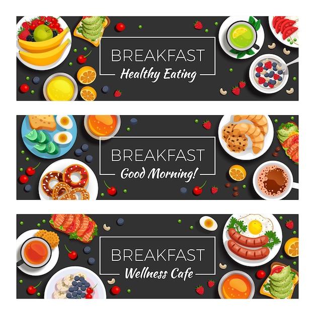 Śniadanie Poziome Banery Darmowych Wektorów