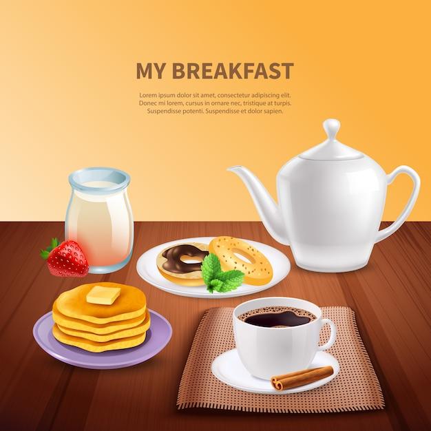 Śniadanie Realistyczne Darmowych Wektorów
