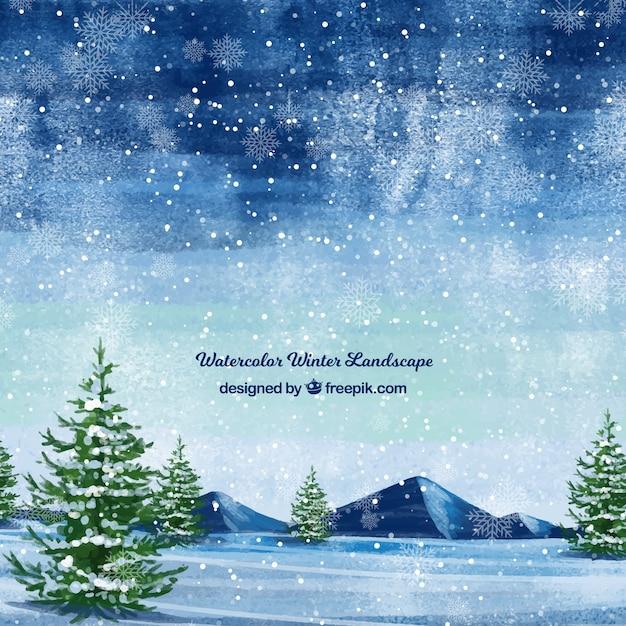 Śnieżny krajobrazowy tło z drzewami Darmowych Wektorów