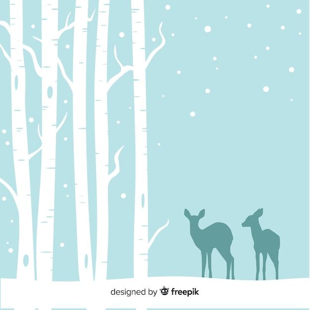 Śnieżny lasowy tło Darmowych Wektorów