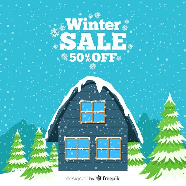 Śnieżysty domowy zimy sprzedaży tło Darmowych Wektorów