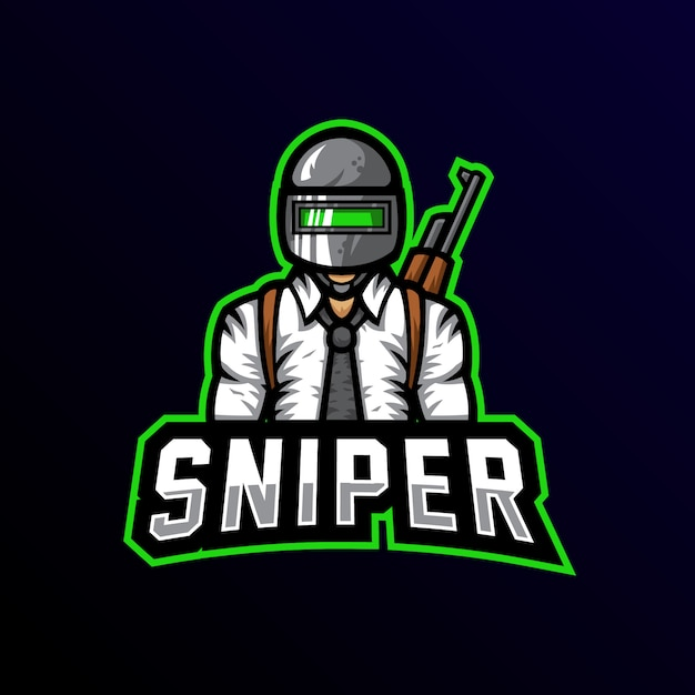 Sniper Maskotka Logo Esport Gaming Premium Wektorów