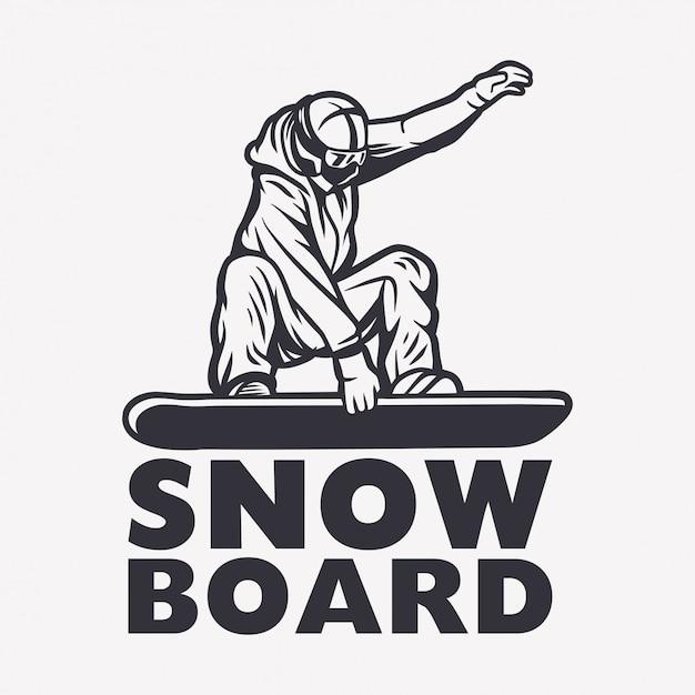 Snowboarder Czarny I Biały Projekta Elementu Ilustracja Premium Wektorów