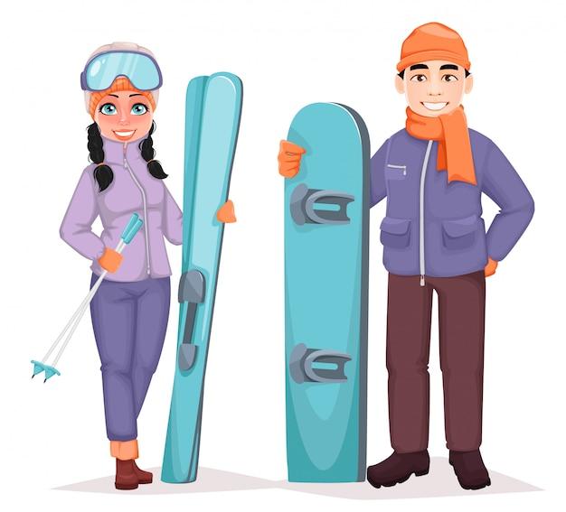 Snowboardzista I Narciarz Premium Wektorów