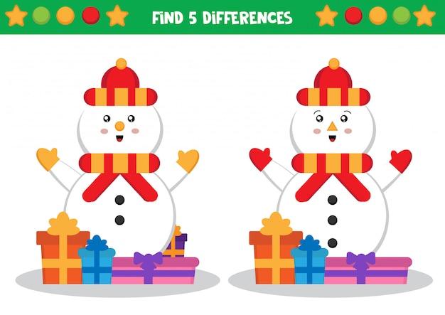 Snowman, Znajdź Różnice. Arkusz Edukacyjny Dla Dzieci Premium Wektorów