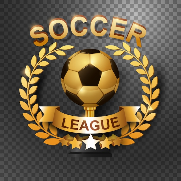 Soccer league trophy with gold laurel wreath Premium Wektorów