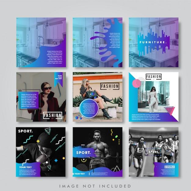 Social feed instagram feed pack lookbook Premium Wektorów