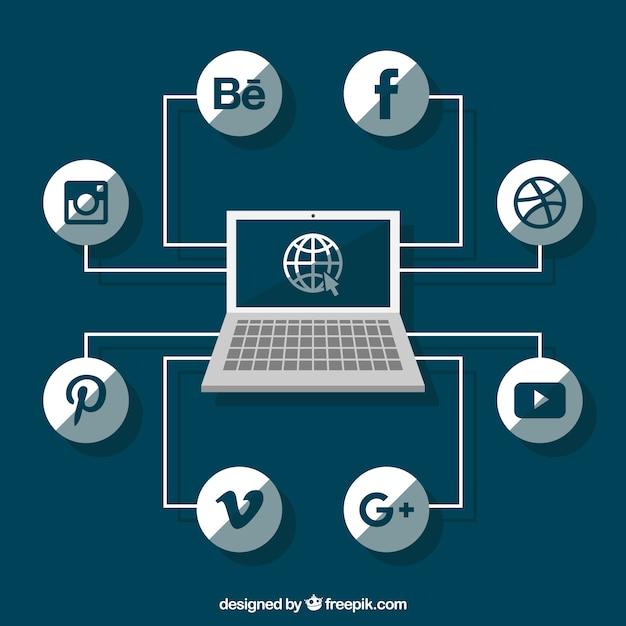 Social logo sieci z laptopa Darmowych Wektorów