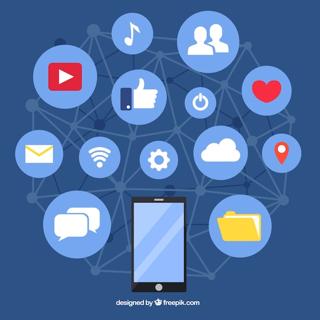 Social media elementy tła w stylu płaski Darmowych Wektorów
