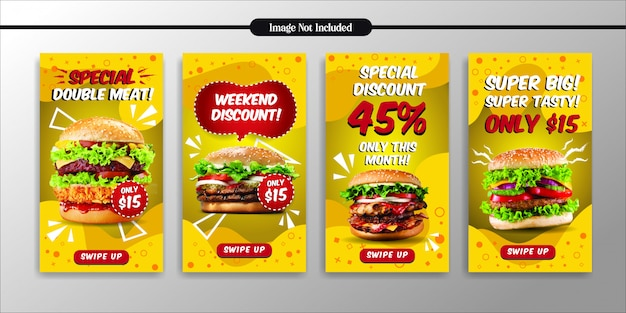 Social media instagram historie szablon restauracji fast food Premium Wektorów
