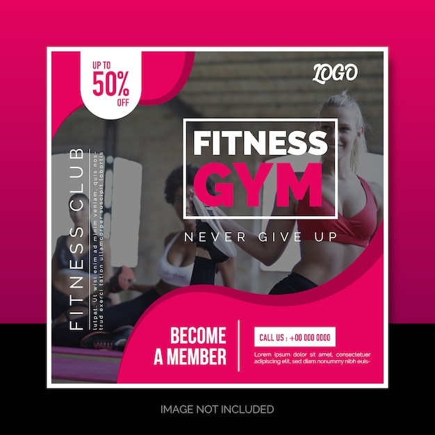 Social Media Instagram Post Lub Square Banner Design Fitness Gym Premium Wektorów