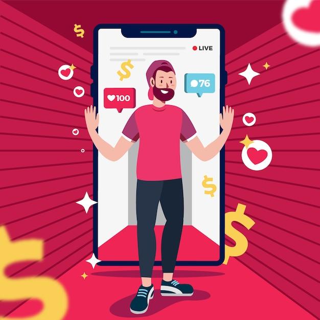 Social Media Marketing Koncepcja Telefonu Komórkowego Darmowych Wektorów