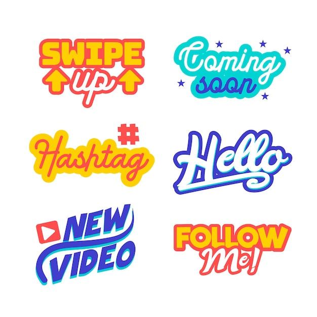 Social Media Slang Bubble Pack Concept Darmowych Wektorów