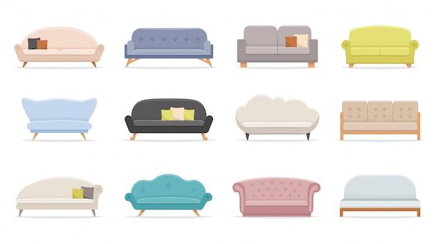 Sofa Domowa. Wygodna Kanapa, Minimalistyczny Zestaw Nowoczesnych Sof Premium Wektorów