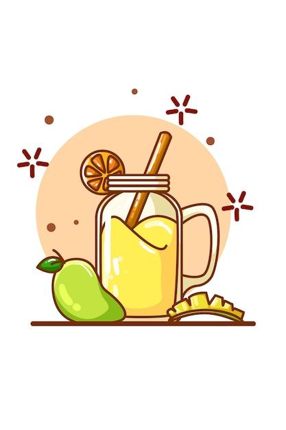 Sok O Smaku Mango I Trochę Mango Premium Wektorów