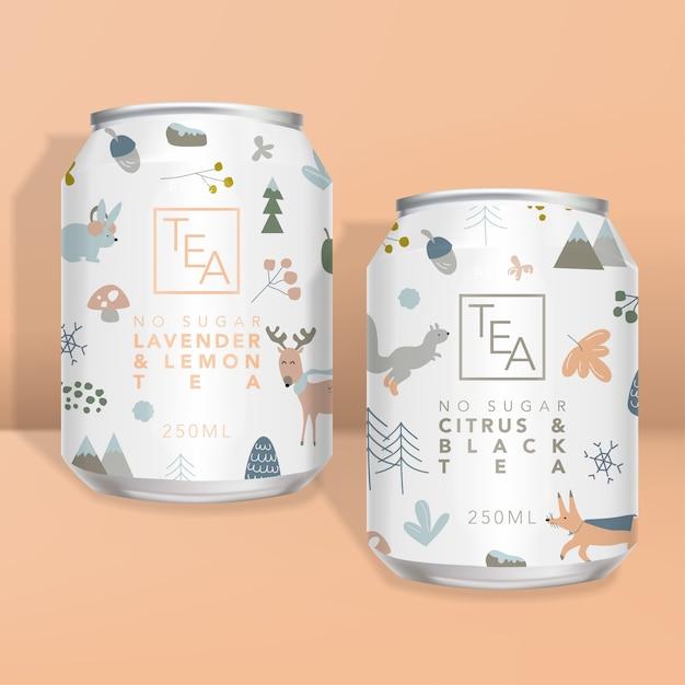 Soki, Napoje Gazowane, Opakowania Na Herbatę Lub Kawę, Minimalne Wzornictwo Zimowych Zwierząt Leśnych Premium Wektorów