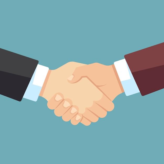 Solidny Uścisk Dłoni Biznesmenów. Zespół Firmy, Umowy I Wielka Sprawa Wektor Płaski Premium Wektorów