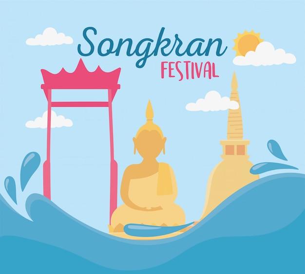 Songkran Festiwal Kultury Buddy Brama świątyni Zabytki Premium Wektorów