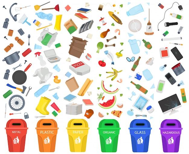 Sortowanie śmieci Premium Wektorów