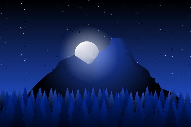 Sosnowego lasu krajobrazu tło z górą i gwiaździstą nocą Premium Wektorów