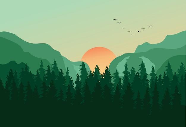 Sosnowy las panorama pejzaż tło Premium Wektorów