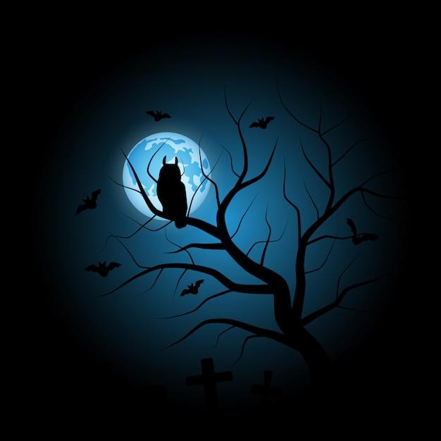 Sowa Halloween Tło Wektor Búho Premium Wektorów