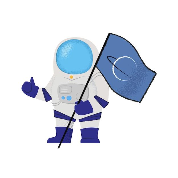 Spaceman pokazuje flaga i aprobaty. odkrywca, pionier, misja Darmowych Wektorów