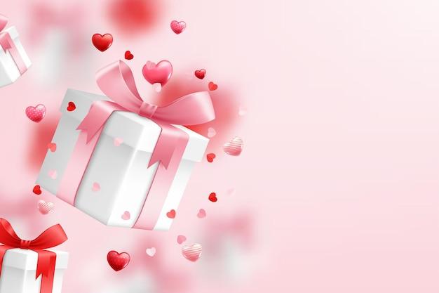 Spadające Pudełko Upominkowe, świętują Walentynki Premium Wektorów