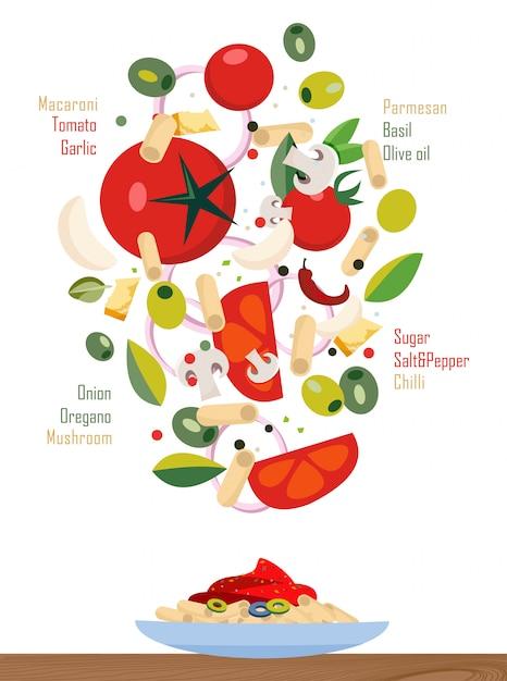 Spadające składniki makaronu i sosu Premium Wektorów