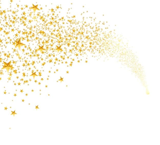 Spadające Złote Gwiazdy, Pył. Spadająca Gwiazda Z Zaokrąglonym Szlakiem Na Białym Tle Darmowych Wektorów