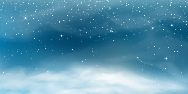 Spadający śnieg. Zimowy Krajobraz Z Zimnym Niebem, Zamieć, Płatki śniegu, Zaspa W Realistycznym Stylu. Darmowych Wektorów