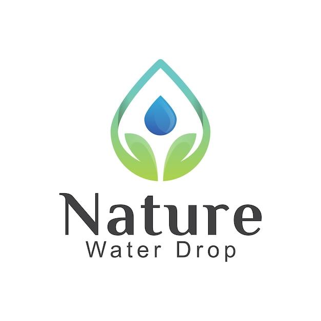 Spadek Liścia Natury Z Projektem Logo Kropli Wody Premium Wektorów