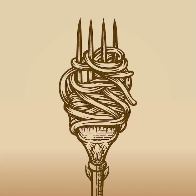 Spaghetti na widelcu w stylu grawerowania Premium Wektorów